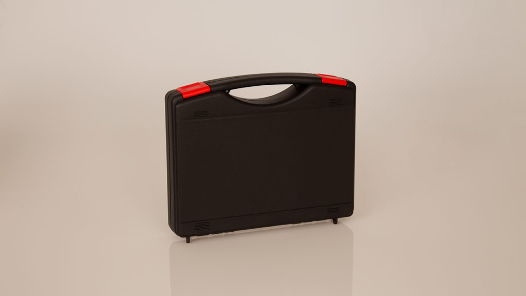 Black case with red locks