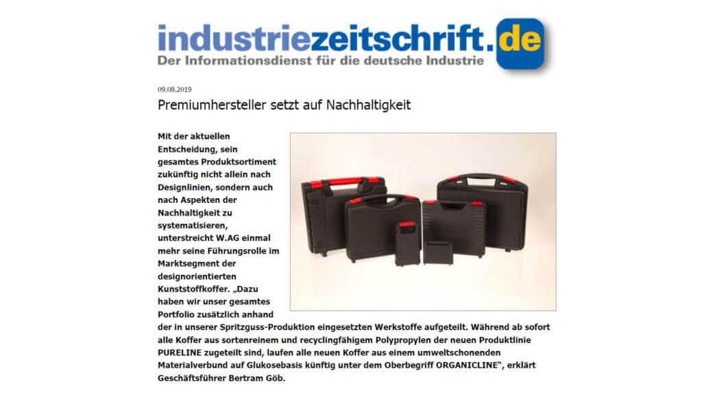 Industriezeitschrift über PURELINE und ORGANICLINE von W.AG