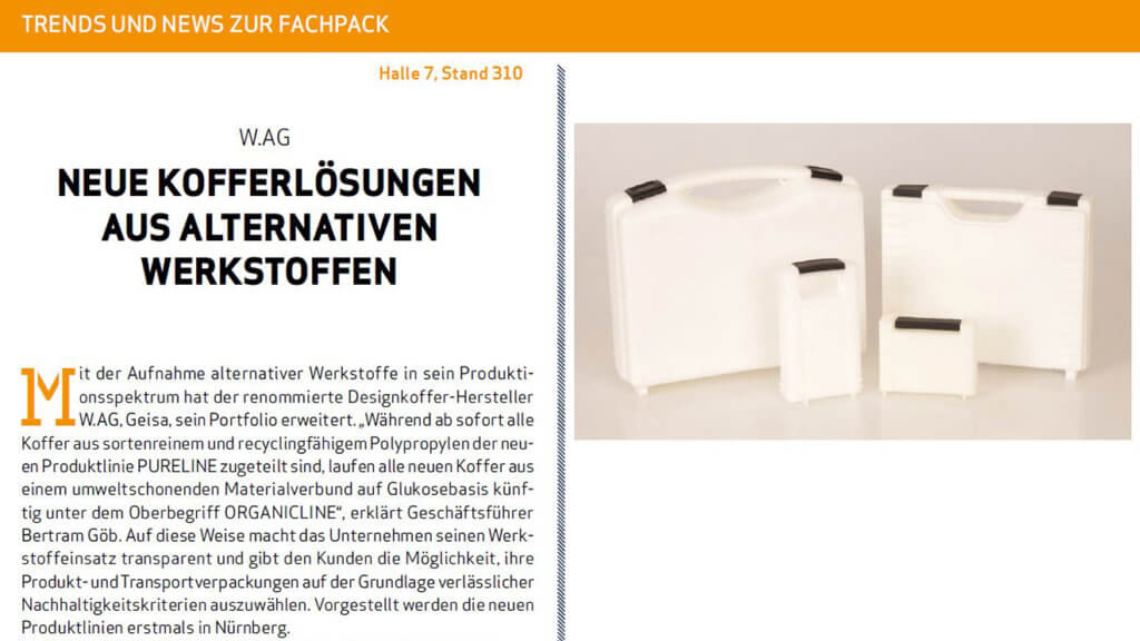 Packaging Journal Artikel über W.AG ORGANICLINE