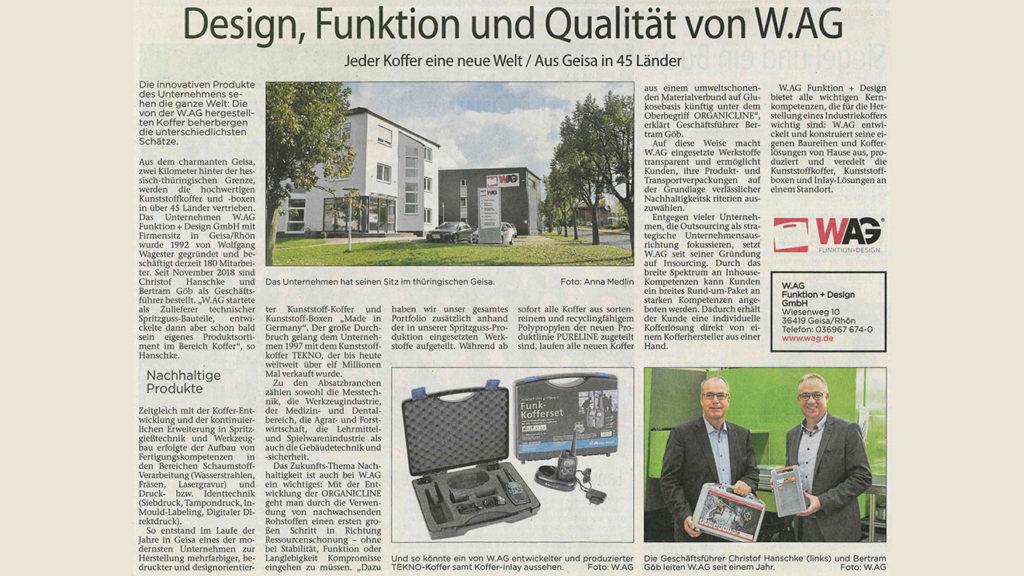 W.AG in Fuldaer Zeitung Wirtschaft & Karriere 2019